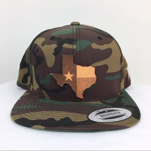 3aa783dc411c5 Branded Bills Accessories - Branded Bills Texas State Leather Camo Snapback